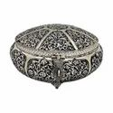 Silver Plated Round Shape Jewellery Box For Corporate Gift