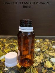 60ml Round Amber 25mm PET Bottle.