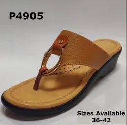Faux Leather Casual Wear Ladies Fancy Slipper Footwear, Size: 36