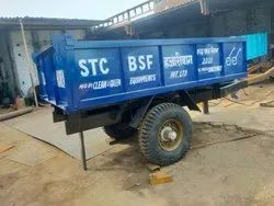 Hydraulic Tractor Trolley Mounted on Two Wheel Trailer Chassis.