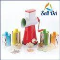 4 in 1 Drum Grater Shredder Slicer Plastic, Steel Hand Juicer Multicolor Kitchen Tool Set Combo