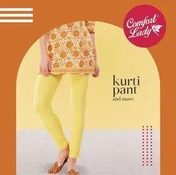 Yellow Mid Waist Comfort Lady Kurti Pant, Casual Wear, Straight Fit
