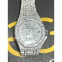 Moissanite Studded Iced Out Watch, 41mm Dial, EF/VVS Diamond, Wrist Date Watch, 23
