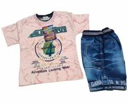 Poly Cotton and Denim Printed Kids Baba Suit Set
