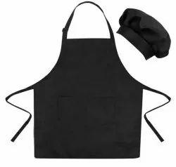 Plain Black Canvas Cooking Apron, For Kitchen Usage, Size: Large