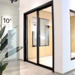 Glossy Powder Coated Black Aluminium Frame Glass Panel Aluminium Sliding Interior Door, For Home