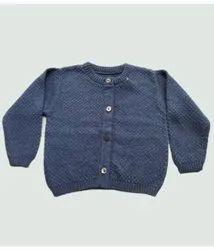 Button Blue Round Neck Cotton Wool Pullover, Size: M