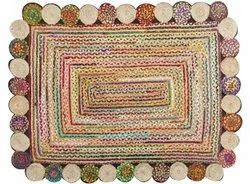 Hand Knotted Printed Cotton Rectangular Braided Jute Rug, For Floor