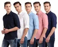 DJ Multicolor Linen Cotton Plain Casual Shirts