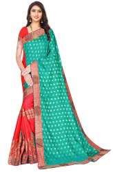 Janasya Women's Multicolor Vichitra Silk Embroidered Saree With Blouse Piece(BATTERY-Pack of 4)