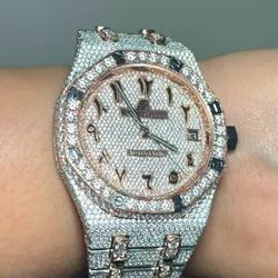 Moissanite Studded Diamond Iced Out Watch with Hebrew Numbers and Date, 25