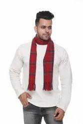 Men Red Check Woolen Scarves