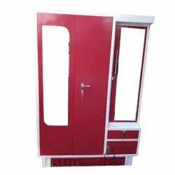 Red Mild Steel MS Dressing Almirah, With Locker, Size: 6 X 2.5 Feet