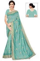 Janasya Women's Multicolor Vichitra Embroidered Saree With Blouse Piece(ALANKAR-Pack of 5)