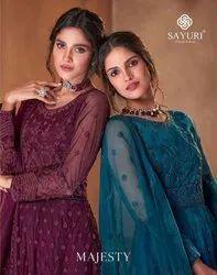 Sayuri Designer Majesty Net Embroidery Long Party Wear Salwar Kameez