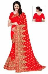 Janasya Women's Red Poly Georgette Embellished Saree With Blouse Piece(SAR080)