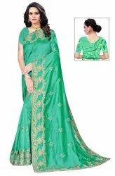 Janasya Women's Multicolor Vichitra Silk Embroidered Saree With Blouse Piece(JAGRUTI-Pack of 5)