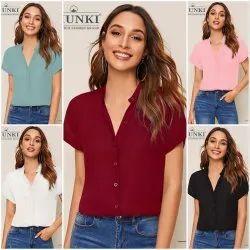 Dhunki Half Sleeve Tfunny Fashion Women's Party Wear Shirt, Size: M,XL, Casual