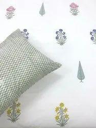 Hand block mugal butta printed cotton Bedsheet.