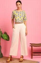 Janasya Women's Cream Cotton Flex Crop Top With Palazzo(J0345)