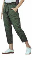 Mid Waist Cotton Ankle Belt Pant-VFM1042, Casual Wear, Slim Fit
