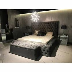 Nordiac Fusion Tufted Platform Bed With Sidetables With Ottoman