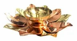 Golden Decorative Brass Lotus Diya For Diwali And Corporate Gift