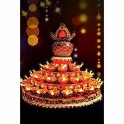 Electric Plastic 46 Diyas Revolving Kalash Thali, For Pooja Decoration, Size: 11 Inches