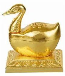 Gold Plated Swan Kumkum Box For Wedding & Corporate Gift
