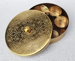 Floral Masala Handcrafted Spice Box In Brass With Spoon