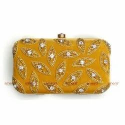 Printed Multicolor Handwork Box Clutch, Size: Free Sizes