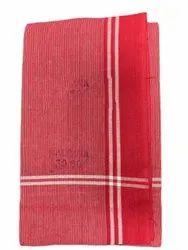 Stripped Red Cotton Gamcha, 150 GSM, Size: 30 X 60inch (w X L)