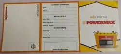 Paper Warranty Card Printing Service