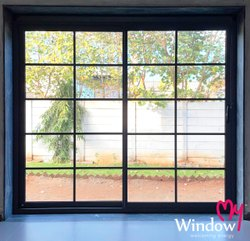 Aluminium Hinged Glass Window, For Home