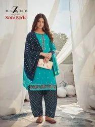 Casual Wear Blue Patiala Work Readymade Salwar Suit