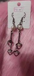 Brass (base) And Pearl Fancy Party Wear Artificial Dangler Earring