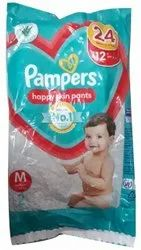 Cotton Disposable Pampers Medium 2 Pants Baby Diaper, Age Group: 3-12 Months