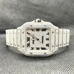Moissanite Studded Iced Out Watch, 41mm Dial, EF/VVS Diamond,Full White Watch 14