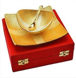Metal Gold Plated Tray, Bowl & Spoon Set For Wedding Gift