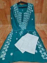 Casual Wear Straight Chikankari Rayon Kurti With Lycra Pant, Wash Care: Handwash