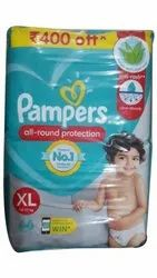 Cotton Disposable Pampers XL 66 Pants Baby Diaper, Age Group: 1-2 Years