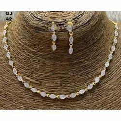 Golden Party Cz Necklace Set