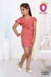 Girl Adorable Rust Color Stylish Short Midi Dresses