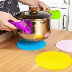 Multicolor As A Photo Kitchen Silicone Trivets Mat Set Of 4, Size: 7 Inch