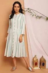 Janasya Women's Off White Rayon Western Dress(J0296)