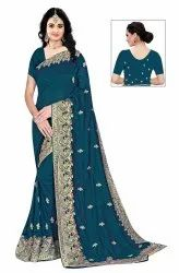 Janasya Women's Multicolor Vichitra Silk Embroidered Saree With Blouse Piece(MATKA-Pack of 6)