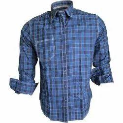 Collar Neck Men Blue Check Shirt, Handwash, Size: Medium