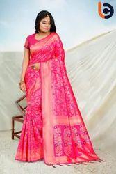 Party Wear Printed Bhramani Creation Border Ladies Designer Fancy Jacquard Silk Saree, 6 m (with blouse piece)