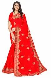 Janasya Women's Multicolor 60 Gram Georgette Embroidered Saree With Blouse Piece(KULCHA-Pack of 6)
