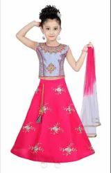 Silk Party Wear Kids Girl Lehenga Choli, Size: 16